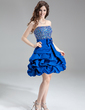 A-Line/Princess Strapless Short/Mini Satin Homecoming Dress With Beading Sequins (022016268)
