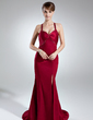 Trumpet/Mermaid Sweetheart Sweep Train Charmeuse Evening Dress With Beading Split Front (008016015)