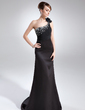 Sheath/Column One-Shoulder Court Train Satin Evening Dress With Ruffle Beading (017025832)