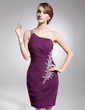Sheath/Column One-Shoulder Knee-Length Chiffon Cocktail Dress With Ruffle Beading Sequins (016008819)