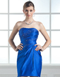 Sheath/Column Sweetheart Short/Mini Satin Homecoming Dress With Ruffle Beading (022004342)