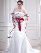 Corte trompeta/sirena Estrapless Cola capilla Satén Vestido de novia con Encaje Fajas Alfiler Flor Cristal Lazo(s) (002012654)