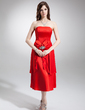 A-Line/Princess Strapless Tea-Length Charmeuse Bridesmaid Dress With Beading Bow(s) Cascading Ruffles (007016241)