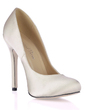 Women's Silk Like Satin Stiletto Heel Closed Toe Pumps (047017502)