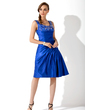 A-Line/Princess Square Neckline Knee-Length Charmeuse Mother of the Bride Dress With Ruffle Beading (008014258)
