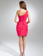 Sheath/Column One-Shoulder Short/Mini Chiffon Bridesmaid Dress With Ruffle (007024296)