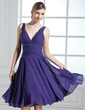 A-Line/Princess V-neck Knee-Length Chiffon Bridesmaid Dress With Ruffle Beading Sequins (007013960)