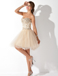 A-Line/Princess Sweetheart Knee-Length Tulle Homecoming Dress With Beading (022009621)