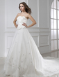 Ball-Gown Strapless Cathedral Train Satin Organza Wedding Dress With Embroidered Beading (002015461)