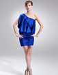 Sheath/Column One-Shoulder Short/Mini Charmeuse Cocktail Dress With Ruffle (016008482)
