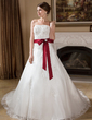 Ball-Gown Strapless Chapel Train Organza Wedding Dress With Lace Sash Beading Crystal Brooch Bow(s) (002000278)