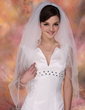 Two-tier Fingertip Bridal Veils With Pearl Trim Edge (006020349)
