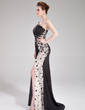 Trumpet/Mermaid One-Shoulder Sweep Train Chiffon Prom Dress With Ruffle Beading Split Front (018019001)
