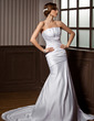Trumpet/Mermaid Scalloped Neck Chapel Train Satin Wedding Dress With Ruffle (002000607)