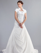 A-Line/Princess High Neck Chapel Train Taffeta Wedding Dress With Beading Cascading Ruffles (002012802)