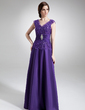 A-Line/Princess V-neck Floor-Length Taffeta Mother of the Bride Dress With Ruffle Beading (008006011)