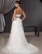 A-Line/Princess Sweetheart Court Train Organza Wedding Dress With Ruffle Sash Beading Flower(s) (002014482)