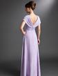 Çan/Prenses V Yaka Uzun Etekli Chiffon Gelin Annesi Elbisesi (008006095)