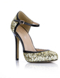 Patent Leather Sparkling Glitter Stiletto Heel Pumps Closed Toe With Buckle shoes (085022576)