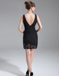 Sheath/Column V-neck Short/Mini Chiffon Mother of the Bride Dress With Ruffle Lace Beading (008016280)