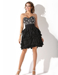 A-Line/Princess Sweetheart Knee-Length Chiffon Homecoming Dress With Beading Cascading Ruffles (022011159)