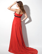 Empire Strapless Court Train Chiffon Evening Dress With Sash Bow(s) (017017380)