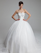 Ball-Gown Sweetheart Court Train Organza Satin Wedding Dress With Ruffle Lace Beading (002011973)