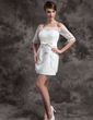 Sheath/Column Off-the-Shoulder Short/Mini Satin Lace Wedding Dress With Bow(s) (002015014)