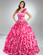 Ball-Gown One-Shoulder Floor-Length Taffeta Quinceanera Dress With Beading Flower(s) Cascading Ruffles (021015577)