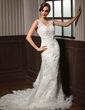 Trumpet/Mermaid V-neck Chapel Train Tulle Wedding Dress With Lace Beading Bow(s) Pleated (002011605)