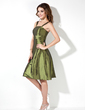 A-Line/Princess Square Neckline Knee-Length Taffeta Bridesmaid Dress (007020675)