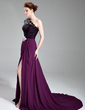 A-Line/Princess One-Shoulder Court Train Chiffon Lace Evening Dress With Beading Split Front (017019739)