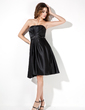 A-Line/Princess Strapless Knee-Length Satin Bridesmaid Dress With Ruffle Beading (007000960)