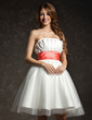 Empire Scalloped Neck Knee-Length Taffeta Tulle Homecoming Dress With Ruffle Sash (022021027)