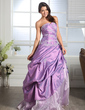 Ball-Gown Sweetheart Floor-Length Taffeta Organza Quinceanera Dress With Ruffle Beading Appliques Lace Flower(s) (021005169)