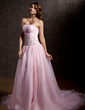 Ball-Gown Sweetheart Chapel Train Organza Wedding Dress With Ruffle Beading Appliques Lace Sequins (002011739)
