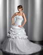 Ball-Gown Sweetheart Chapel Train Taffeta Tulle Wedding Dress With Ruffle Lace Beading Sequins (002014825)