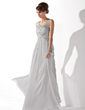 A-Line/Princess Scoop Neck Floor-Length Chiffon Prom Dress With Ruffle Beading (018005096)