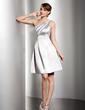Empire One-Shoulder Knee-Length Charmeuse Homecoming Dress With Ruffle (022014498)
