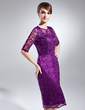 Sheath/Column Scoop Neck Knee-Length Lace Mother of the Bride Dress (008006083)