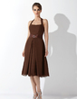 A-Line/Princess Halter Knee-Length Chiffon Bridesmaid Dress With Beading Bow(s) (007001729)