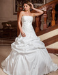 Ball-Gown Strapless Court Train Taffeta Wedding Dress With Embroidered Ruffle Beading (002000110)