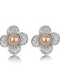 Elegant Alloy/Pearl With Rhinestone Ladies' Earrings (011037022)