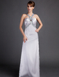 Sheath/Column V-neck Watteau Train Charmeuse Evening Dress With Ruffle Beading (017015795)