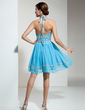 A-Line/Princess Halter Knee-Length Chiffon Homecoming Dress With Ruffle Beading (022021035)