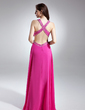 A-Line/Princess V-neck Floor-Length Chiffon Prom Dress With Ruffle Beading (008015650)