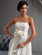 A-Line/Princess Strapless Asymmetrical Taffeta Wedding Dress With Lace Flower(s) Bow(s) (002022672)