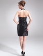Sheath/Column Halter Short/Mini Sequined Cocktail Dress (016008332)