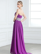 A-Line/Princess Strapless Sweep Train Chiffon Prom Dress With Ruffle Lace (018005239)