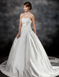 Ball-Gown Strapless Chapel Train Satin Wedding Dress With Ruffle Lace Beading Bow(s) (002017425)